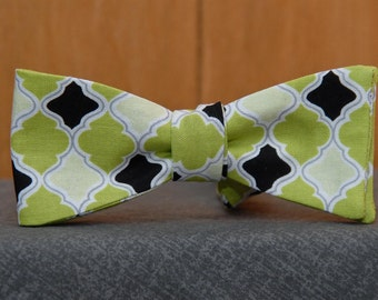 Green, Green, Black  Bow Tie