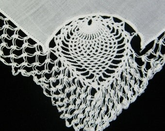 Vintage White on White Linen and Lace Crochet Pineapple Brides Wedding Handkerchief, 8725