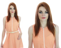 60s Mod Mini Dress Neon Orange Sixties Go-Go Neiman Marcus A-line Sexy 1960s 70s Retro S M Small Medium