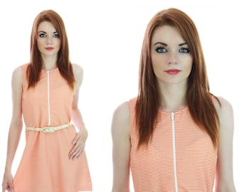 60s Mod Mini Dress Neon Orange Sixties Go-Go Neiman Marcus A-line Sexy 1960s 70s Retro S M Small Medium