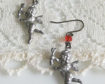 Lovestruck - Dangling Vintage Cast Metal Cupid Romance Inspired Earrings - Valentines Day - Gift For Her