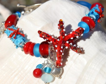 SEASIDE-Handmade Lampwork and Sterling Silver Bracelet