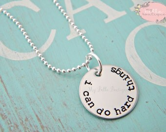 I Can Do Hard Things - Personalized Hand Stamped Necklace