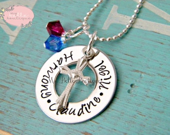 Personalized Hand Stamped Washer Necklace with Family Names, Birthstones and Crucifix Charm
