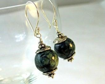 Artisan Sterling Silver Earrings with Mystic Blue Feldspar Beads, Rustic, Organic, Sundance Style