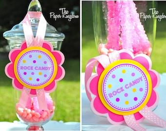 Candy Buffet Labels, Deluxe Dessert Buffet Tags, Pink Lemonade