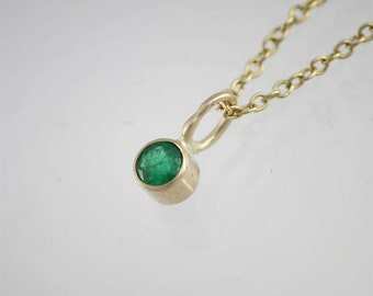 """Emerald Drop Necklace in 14k Yellow Gold (16"""")"""