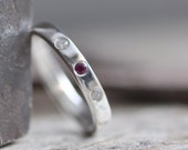 handcrafted ring with 3 stones flush set in sterling silver custom made in your size and choice of stone