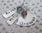 Mothers Day Gift for Grandma - Sterling Silver  GRANDMA Solid Heart  with Name Tags and Birth Month Crystal