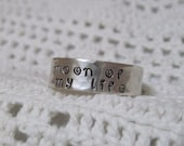 Sterling Silver RING Adjustable Hand Stamped - Moon of my Life