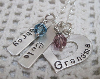 For Grandma - Sterling Silver  GRANDMA Heart Washer with Name Tags and Birth Month Crystal Valentine Gift for Your Special Someone