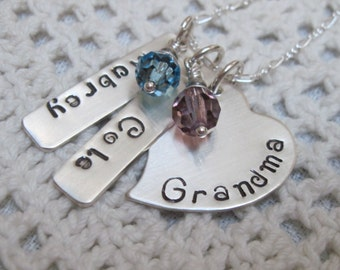 Mothers Day Gift for Grandma - Sterling Silver  GRANDMA Solid Heart  with Name Tags and Birth Month Crystal Mommy Necklace for Mother