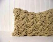 cable knit lumbar pillow - tan - camel - cozy - warm