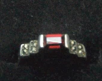 Vintage Deco Sterling Silver, Garnet and Marcasite Ladies or Girls Ring