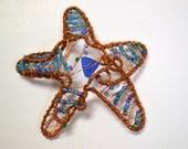 Starfish Beach Decor Copper Beaded Sea Star with Blue Beach Glass