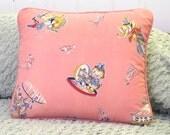Kitty Kat Circus vintage textile pillow