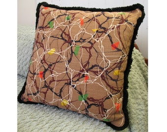 Decorative Vintage pillow, Electrifying 1950s vintage barkcloth pillow