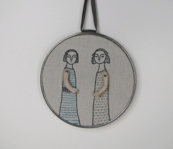 original hand embroidery- two women
