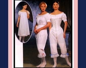 AUTHENTIC CIVIL WAR Undergarments-Designer Costume Sewing Pattern -Fitted Corset -Lace Chemise-Pantaloons-Uncut -Size 14-20 -Rare