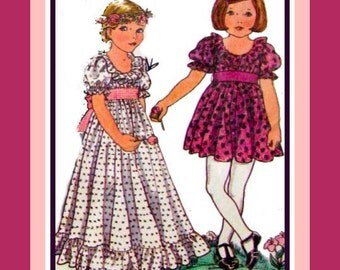 Vintage 1970s -Pretty Princess Toddler Empire Waist Party Dress- Little Vogue Sewing Pattern- Three Styles- Size 5 -Rare