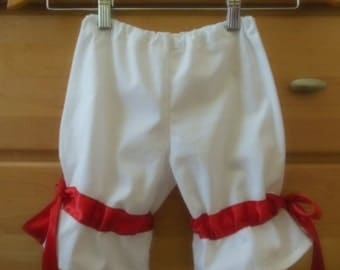 childs custom white pantaloon with your color choice of ribbon and size choice