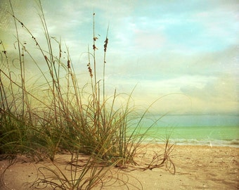 Landscape photography. A Place to Be Art Print - A soothing blue ocean view on a sandy calm beach.  Beach photography.