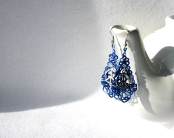EARRINGS - Chandelier Drop - Varigated Blue - Peace - Love - Free Standing Lace Embroidery