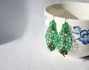 EARRINGS - Diamond Long - Green - Chandelier - St Patricks Day - Shamrock - Lucky -  Free Standing Lace Embroidery - Long