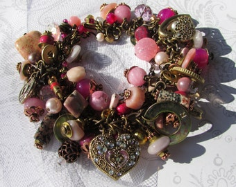 fatdog ToolBox Collection Bracelet - TBB109 Pink with Hearts