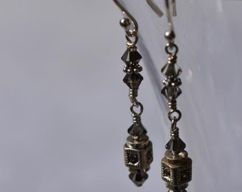 fatdog Earrings -  EMD103 Sterling Silver and Marcasite Bead with Swarovski Crystal Dangles