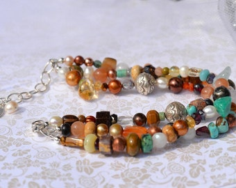 fatdog Bracelet - B1078 Multiple Gemstones and Freshwater Pearls with Sterling Silver Bali Beads 3-Strand