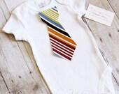 Baby Boy Tie Onesie Bodysuit Fall Stripes Tie short Sleeve