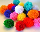 BOLD MIX 20 Yarn Pom Poms for Crafts, Hair Accessories, Garlands, and More Handmade by Me