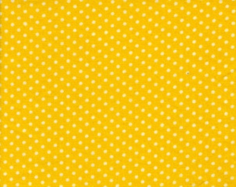 fat quarter, bright gold, white dots cotton fabric, quilting, sewing, crafting