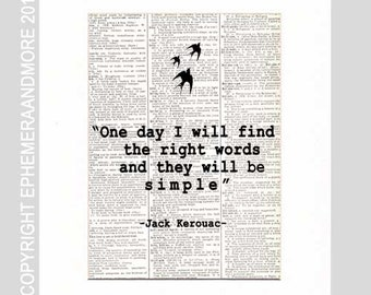 Jack Kerouac QUOTE typography art print on upcycled vintage dictionary book page literary quote library writer writing 8x10