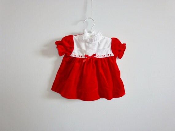 Vintage Red Velvet Baby Dress