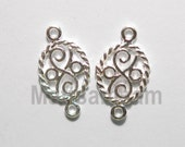 2 x 925 sterling silver flower oval connector (12189cntr)