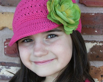 NEW ITEM----Boutique Crochet Shocking Pink Newsboy Cap with Rhinestone Flower Clip----Fits 2 years and Up----