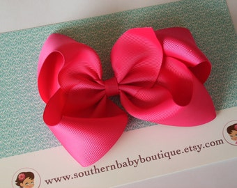 NEW ITEM------Simple X-Large 5.5 Inch Hair Bow-------Shocking Pink