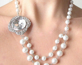 Bridal Necklace Wedding Jewelry Pearl Necklace Bridal Jewelry Rhinestone Necklace Crystal Necklace