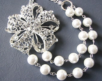 Bridal Jewelry Rhinestone Wedding Necklace Bridal Wedding Jewelry Flower Necklace Pearl Bridal Statement Necklace Holiday Gift