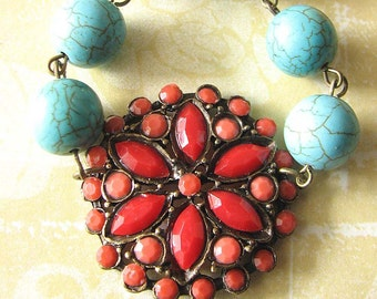 Coral Necklace Turquoise Jewelry Statement Necklace Bib Necklace Bridesmaid Gift Wedding Jewelry