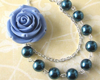 Flower Necklace Bridesmaid Jewelry Navy Blue Necklace Statement Jewelry Beadwork