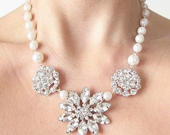 Bridal Necklace Wedding Jewelry Crystal Rhinestone Necklace Bridal Jewelry Wedding Necklace by Zafirenia