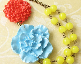 Flower Necklace Statement Necklace Gift For Her Yellow Necklace Coral Jewelry Bib Necklace Bridesmaid Jewelry
