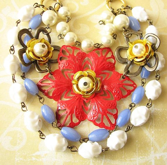 Statement Necklace Flower Necklace Enamel Jewelry Red Bib Necklace Multi Strand Statement Jewelry Gift