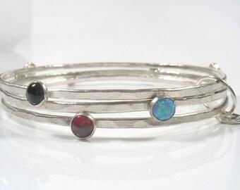 The Colorful  bangles Bracelet - silver bangles with semi-precious stones