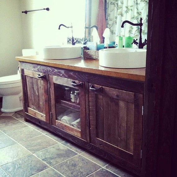 Your Custom Made Rustic Barn Wood Double Vanity Cabinet Or