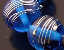 SRA Handmade Lampwork Beads Glass Art Metallic Dark Aqua Blue Rounds Bead Set Heather Behrendt BHV LETeam