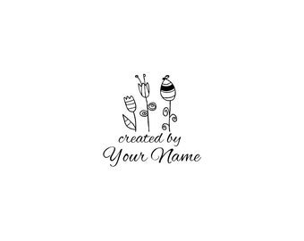 Handle Mounted or Cling Personalized Name custom made rubber stamps C65